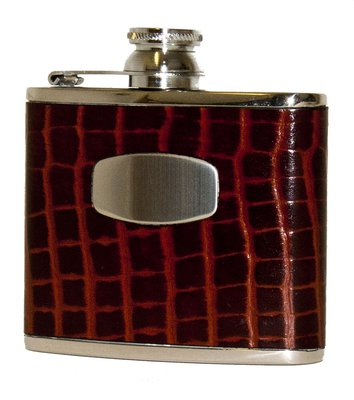 Bisley Brown Croc Leather Flask