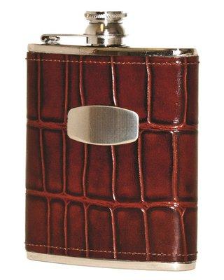 Bisley Brown Windsor Croc Leather Flask