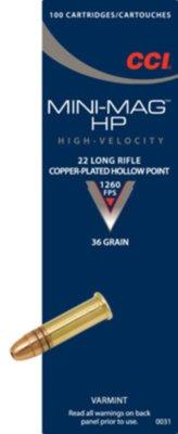 CCI .22 LR HV Mini-Mag 36gr Hollow Point (100 Box)