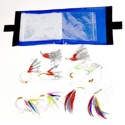 Fisheagle Rig Wallet and 10 Assorted Feather Rigs