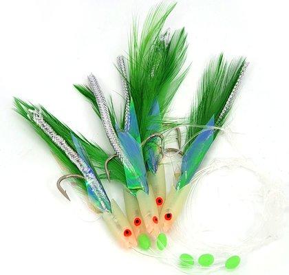 Fisheagle Green Lumi Hokkai 5hk Rig #3/0 40lb