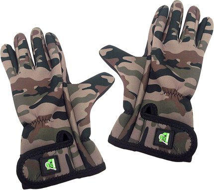 Carp On DPM Camo Neoprene FINGERLESS Gloves with anti-slip palm - Large