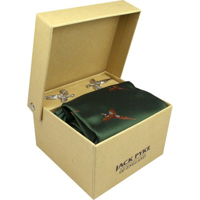 Jack Pyke Pheasant Pattern Tie, Hanky and Cufflinks Gift Set