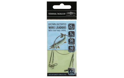 Mikado Uncoated Wire Leaders with Snap and Swivel 2pc