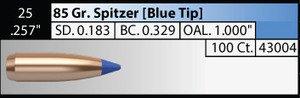 Nosler .25 /.257in 85gr Spitzer x 100