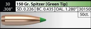 Nosler .30 /.308in 150g Spitzer x 50
