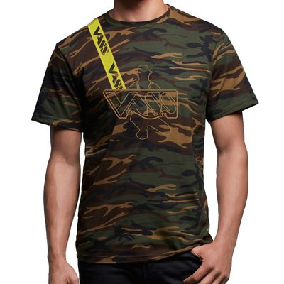 Vass Embroidered Cotton Camo T-Shirt  with Yellow Vass Brace Strap
