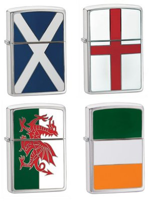 Zippo Brushed Chrome Flag Emblem Lighter