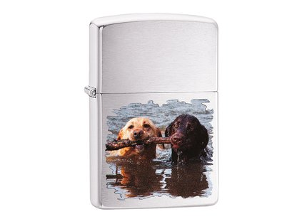 Zippo Labrador Brushed Chrome Lighter