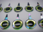 Funky Fly Tying Tab Eyes Mirage/Chartreuse 3D