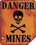 Kombat Danger Mines Sign 8in x 10in
