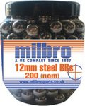 Milbro 12mm Steel Heavy Catapult Ammo (200 Tub)